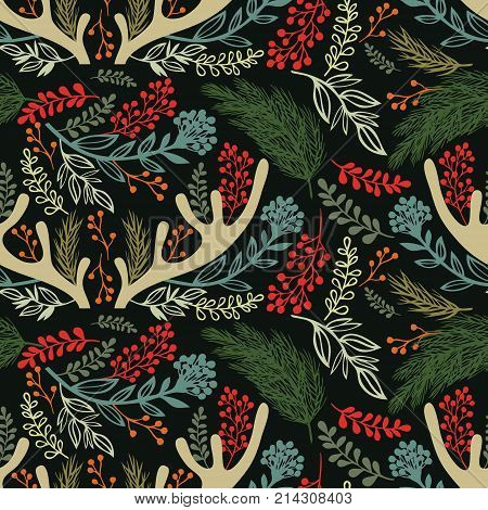 Merry christmas background. Antlers twigs and herbs. Dark background
