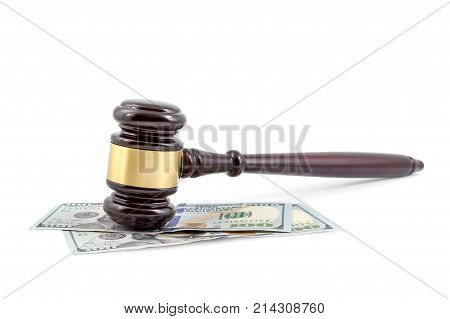 Judge's Gavel With Money On White Background.
