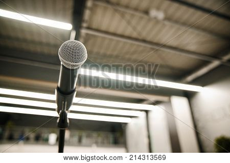 Close-up of the Microphone in the concert hall or Conference Room. Preparation for the concert.