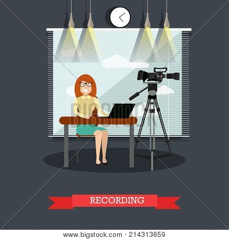 Vector illustration of court worker female making record of legal proceeding or court hearing. Flat style design.