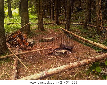 Empty camp stop with fireplace in deep forest