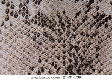Snake skin Texture pattern faux fake plastic fashion dress fabric with snake pattern. Photo closeup.