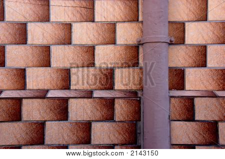 Tiels pattern with stack pipe on a house wall in Germany poster