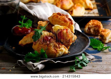 cheesy ground beef empanadas .style rustic.selective focus
