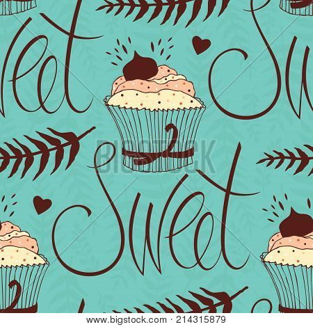 Sweet chocolate cupcake design background Seamless pattern