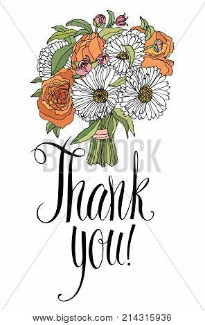Thank you design card with bouquet. Calligraphy and hand drawing