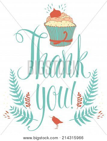 Thank you design card with cupcake. Calligraphy and hand drawing