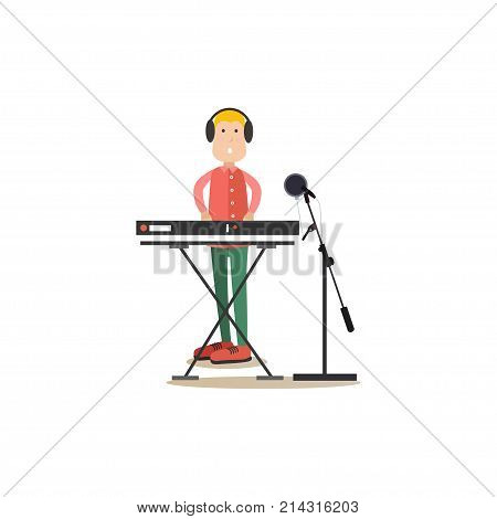 Vector illustration of musician in headphones playing synthesizer in radio. Radio people flat style design element, icon isolated on white background.