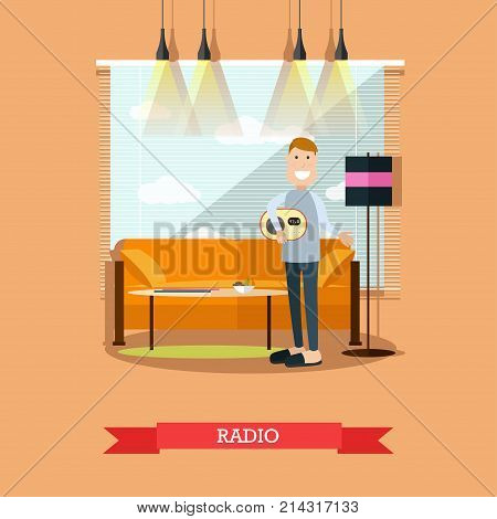 Vector illustration of man listening to radio at home holding radio set in his hand. Living room interior. Radio broadcasting concept flat style design element.