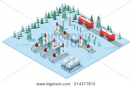 Isometric oil extraction plant template with drilling rigs industrial tanks of petroleum barrels electric towers on snowy landscape vector illustration
