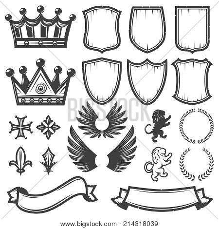Vintage monochrome heraldic elements collection with crowns shields wings lions ribbons laurel wreaths swords crest isolated vector illustration