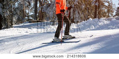 Skier in mountains - Skiing skier ski