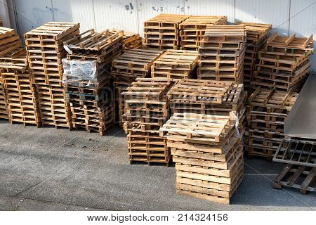 a stacked wooden pallets for the industry