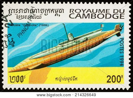 Moscow Russia - November 19 2017: A stamp printed in Cambodia shows old French submarine