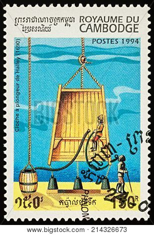 Moscow Russia - November 19 2017: A stamp printed in Cambodia shows old diving bell of Edmond Halley (1690) series