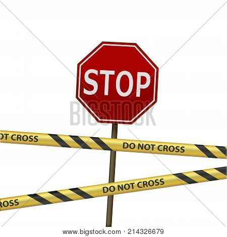 Road sign stop and signal warning tape. Road works and repairs. Isolated on white background. Stock vector illustration.