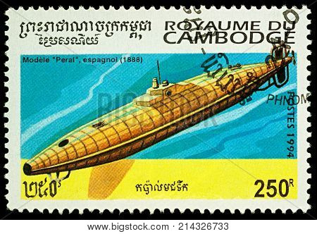 Moscow Russia - November 19 2017: A stamp printed in Cambodia shows old Spanish submarine