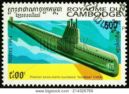 Moscow Russia - November 19 2017: A stamp printed in Cambodia shows the first American nuclear-powered submarine Nautilus (1954) series