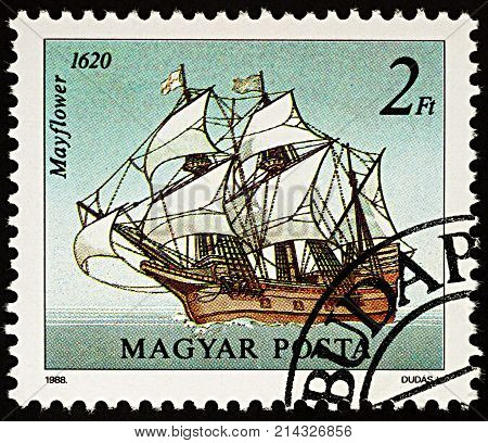 Moscow Russia - November 18 2017: A stamp printed in Hungary shows sailing ship Mayflower (1620) series
