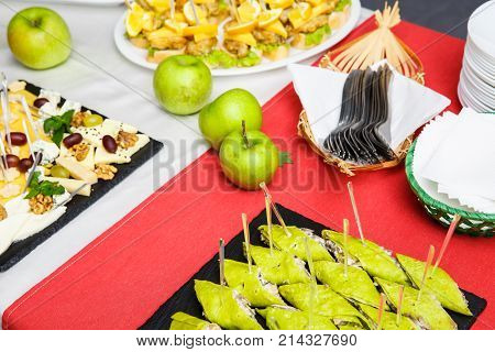 table Buffet Dishes. reception. Snacks. buffet table. restaurant feed New Year Christmas