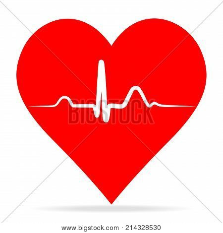 Ekg pulse Red Medic blood pressure vector icon cardiogram health logo love heartbeat isolated in flat style.