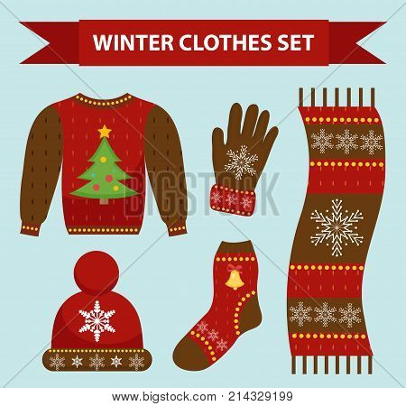 Winter warm clothes icon set, flat style. Christmas clothing, apparel collection with patterns. Hat, scarf, gloves, sweater. Isolated on white background. Vector illustration