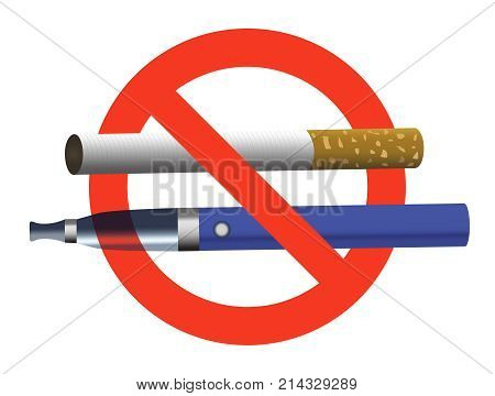 No Smoking No Vaping Sign Ban Cigarette And Electronic Cigarette Not Allowed Blue E-cigarette And Ci