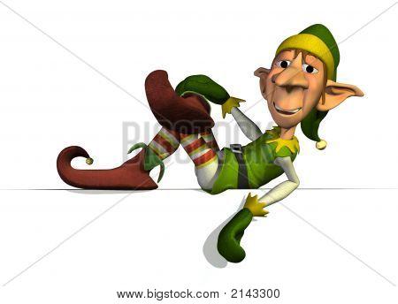 Elfe du père Noël sur le bord du signe