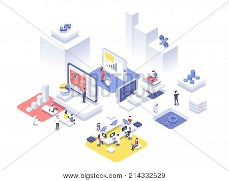People work in a team and achieve the goal. Startup concept. Launch a new product on a market. Isometric vector illustration.