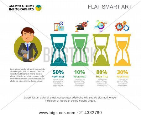 Business Infographics with Sandglasses. Bar diagram, graph, layout. Creative concept for infographics, presentation, project, report. Can be used for topics like business, time management, planning