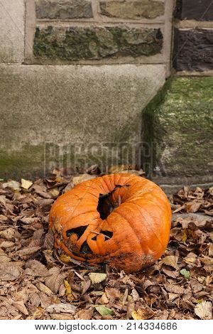 A moldy decaying jack-o-lantern sits in a pile of leaves after Halloween.