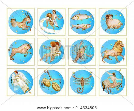 Set of twelve signs of the zodiac in blue color watercolor in retro style. Isolated on white background