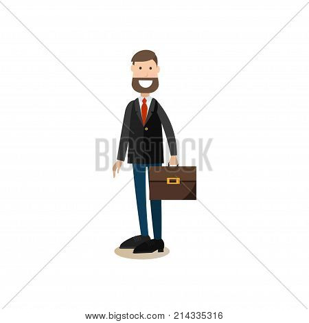 Vector illustration of headmaster male with briefcase. School principal flat style design element, icon isolated on white background.