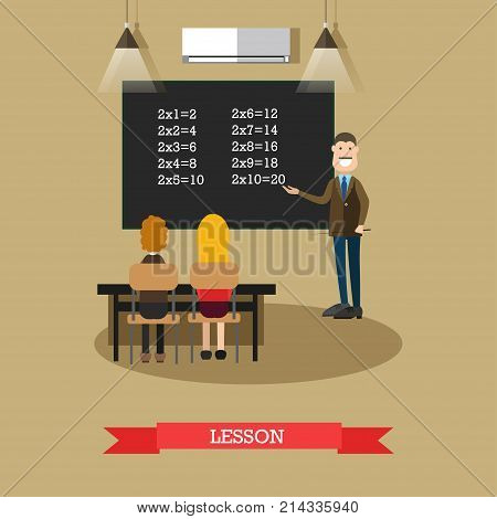 Vector illustration of maths teacher male pointing at blackboard and school children sitting at the desk and listening to the teacher. Classroom interior. Lesson concept design element in flat style.