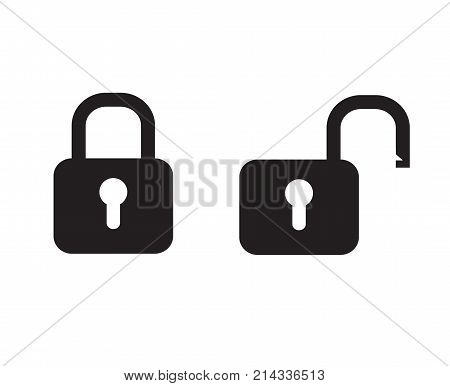 black padlock locked and unlocked icon vector