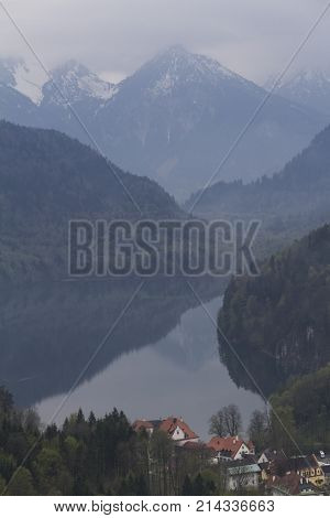 Beautiful view of the Alpsee lake from the Neuschwanstein castle located near the city of Füssen, Munich