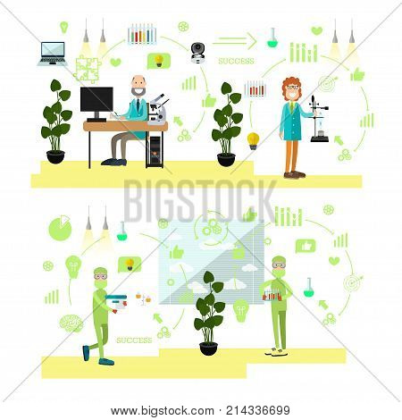 Vector illustration of biologist or chemist males working at lab, carrying out experiments. Science people, lab equipment and glassware symbols, icons isolated on white background. Flat style design.