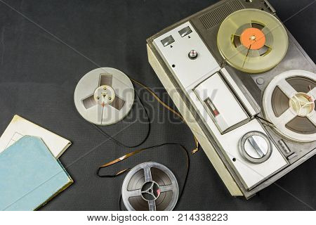 Magnetic Tapes And Old Tape Recorder.
