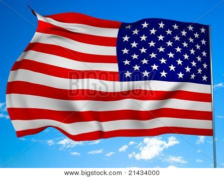 Official state flag of the United States against the blue sky