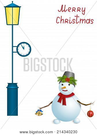 Christmas card, snowman under a lamppost with a clock, isolated on white background, vector illustration
