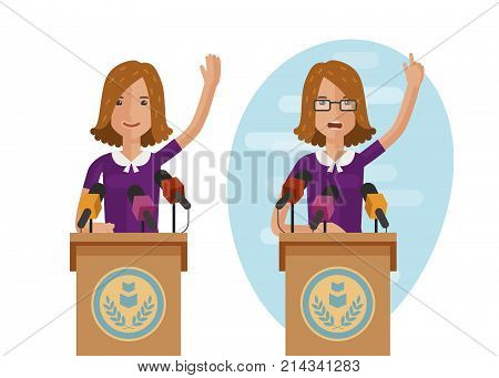 Orator speaks from rostrum. Publicly speech concept. Cartoon vector illustration isolated on white background
