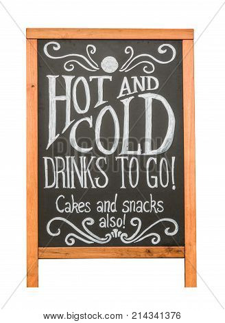 Isolated Rustic Cafe Sign Advertising Hot And Cold Drinks Cakes and Snacks