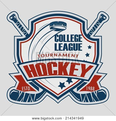 Hockey sticks and puck, hockey emblem, vector