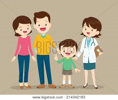 Cute Family Visiting The Woman Doctor
