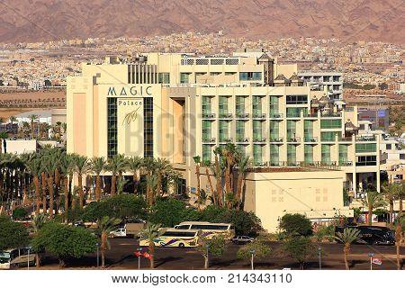 Eilat, Israel - MAY 24: modern hotel Magic Palace in popular resort - Eilat of Israel on May 24, 2017 Eilat, Israel. Magic Palace Hotel Eilat offers 322 apartments and suites, belongs Fattal Group