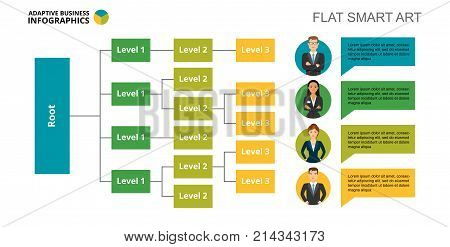 Tree chart with three levels. Flow diagram, graph, layout. Creative concept for infographics, presentation, project, report. Can be used for topics like business, workflow, teamwork