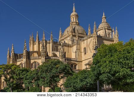 Catedral de Santa Maria de Segovia in the historic city of Segovia Castilla y Leon Spain.