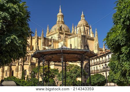 Catedral de Santa Maria de Segovia in the historic city of Segovia Castilla y Leon Spain with gazebo in foreground.