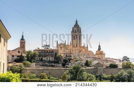 view of the historic city of Segovia and Catedral de Santa Maria de Segovia Castilla y Leon.