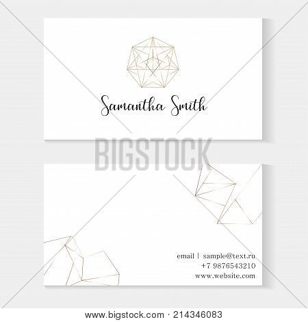 Set Of Business Cards Template With A Gold Geometric Pattern. Gold Polygonal Texture. Geometric Desi